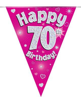 Party Bunting 70th Birthday Pink Holographic