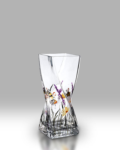 Bees and Blooms Twist Vase by nobile glass and giftware
