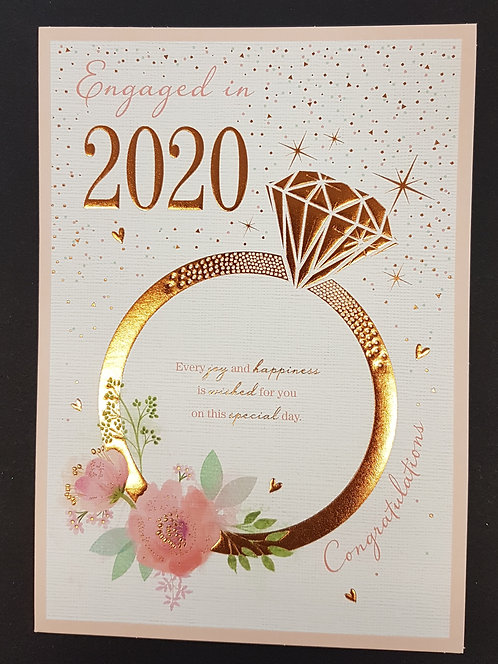 Engagement - Engaged in 2020, Ring Greeting Card