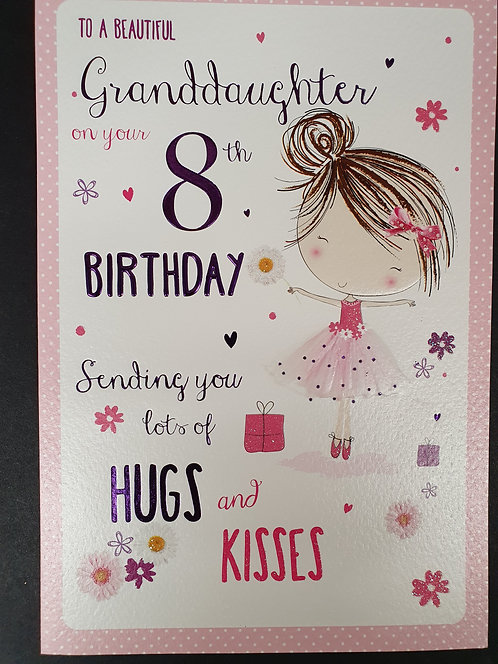Granddaughter 8th Birthday Greeting Card Front