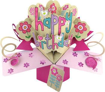 Happy Birthday, Pink Pop Up Greeting Card