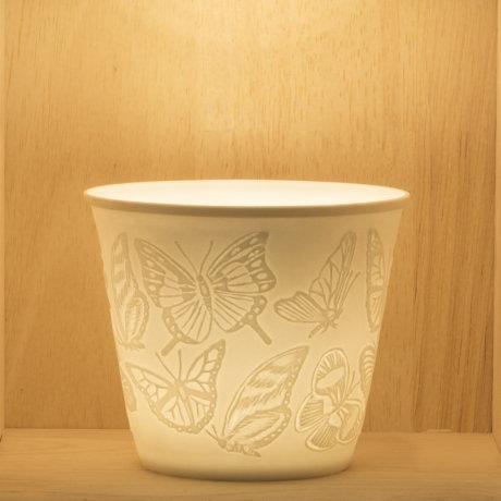 Nordic Light Tea Light Holder With Butterflies