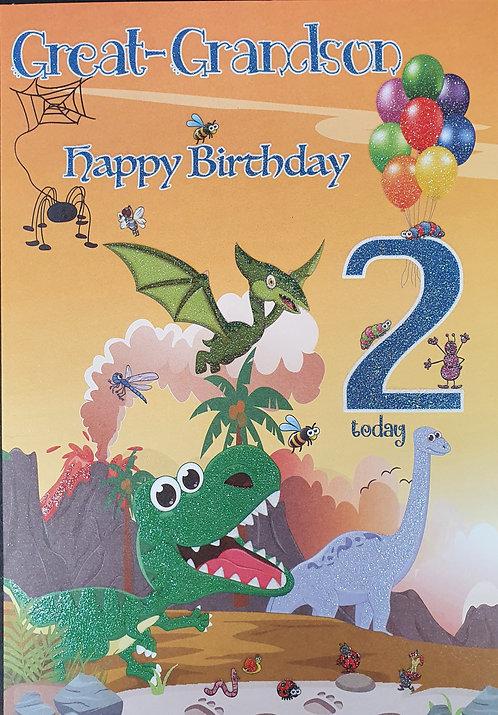 Great Grandson 2nd Birthday Greeting Card Dinosaurs