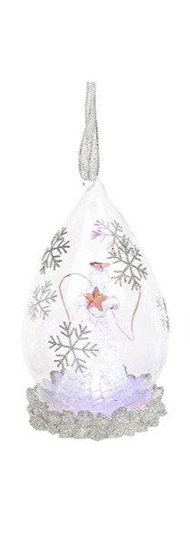 Glass Art LED Teardrop Bauble - Angel