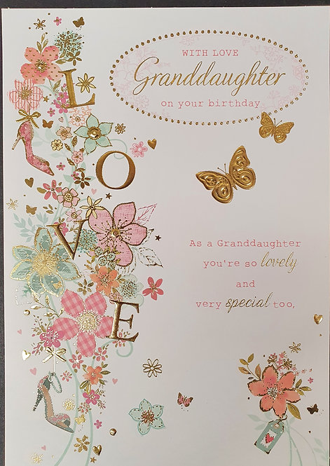 Granddaughter Birthday Greeting Card With Flowers