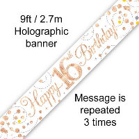 Rose Gold 16th Happy Birthday Party Banner