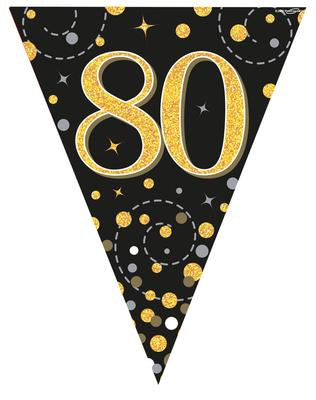 Black And Gold Happy 80th Birthday Bunting