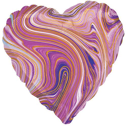 "18"" Marblez Purple Heart -  Anagram Balloon - Helium Filled"