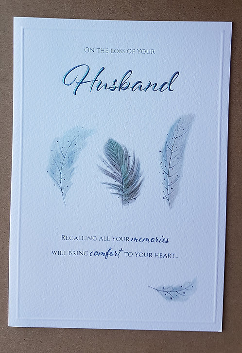 Loss Of Your Husband Sympathy Greeting Card With Feather