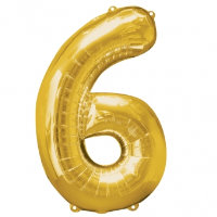 large gold number 6 foil helium balloon