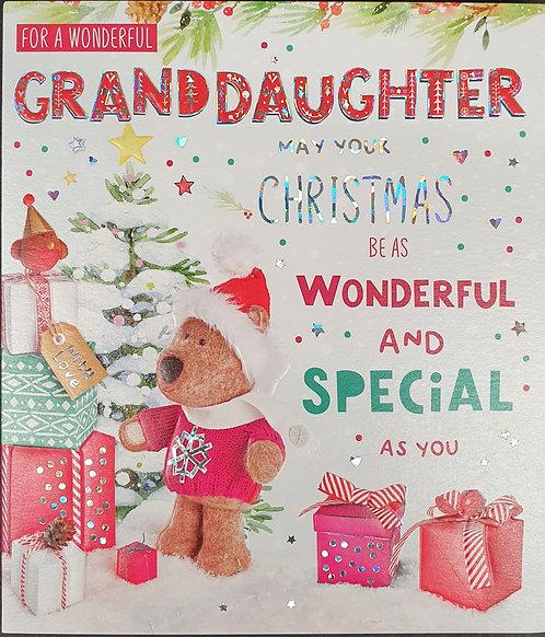 Granddaughter Christmas Greeting Card - Barley Bear
