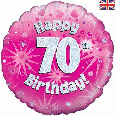 "18"" Pink 70th Birthday Balloon - Helium Filled"