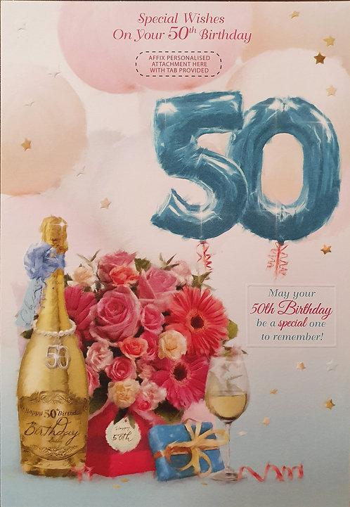 Female 50th Birthday Greeting Card - Personalise