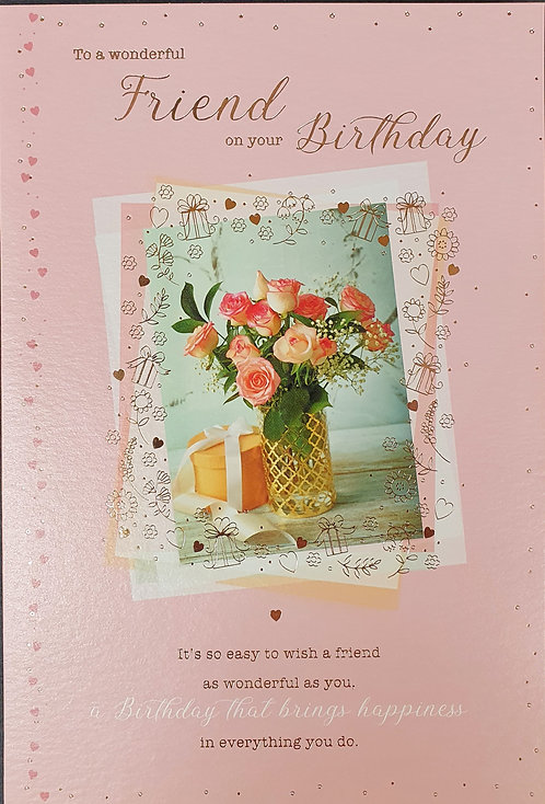 Female Friend Birthday Greeting Card With Flowers