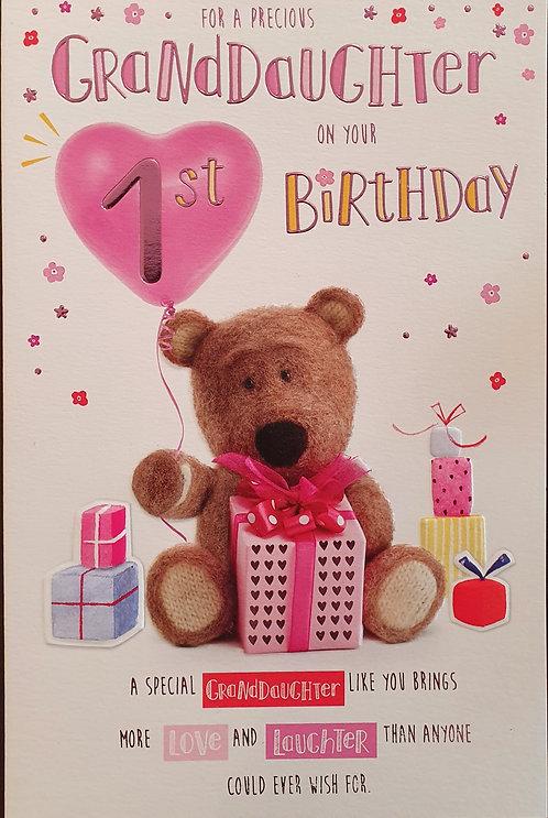 Granddaughter 1st Birthday Card - Barley Bear