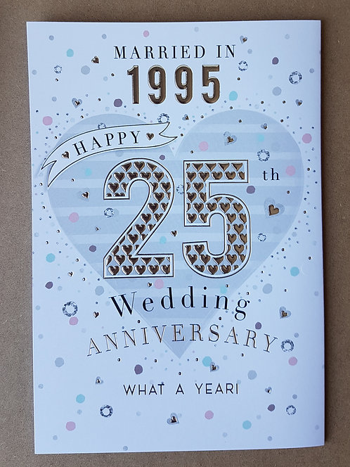 Married In 1995 Silver Wedding Anniversary Greeting Card