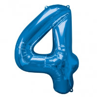 large blue number 4 foil helium balloon
