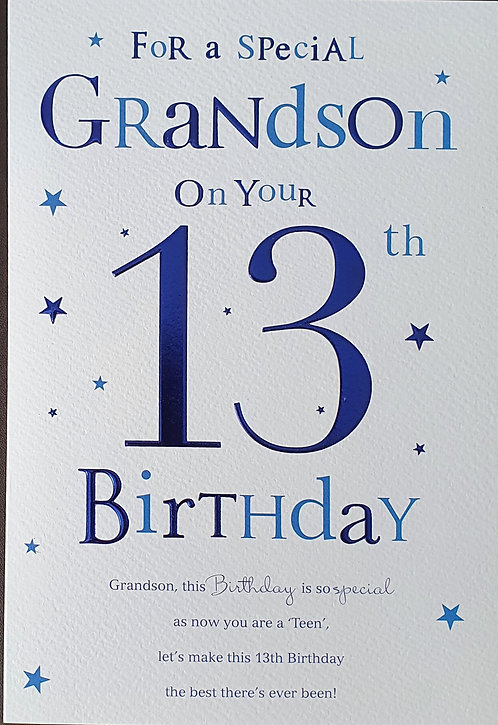 Grandson 13th Birthday Card