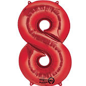 34 inch red large number 8 foil balloon