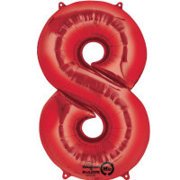 large red number 8 foil helium balloon
