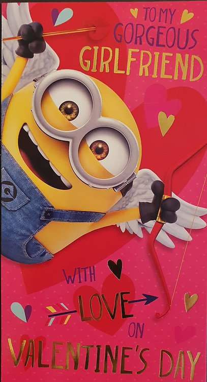 Valentine's Day Card - Girlfriend - Despicable Me, Minion Made
