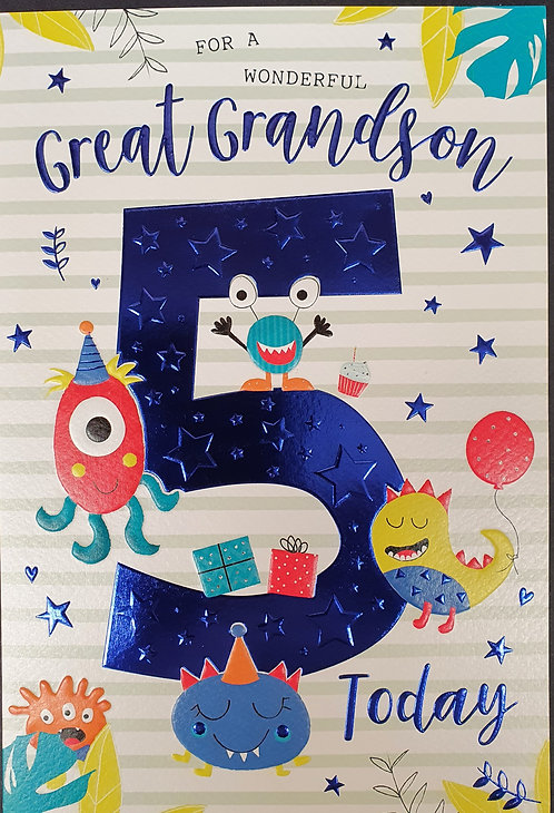Great Grandson 5th Birthday Greeting Card Front
