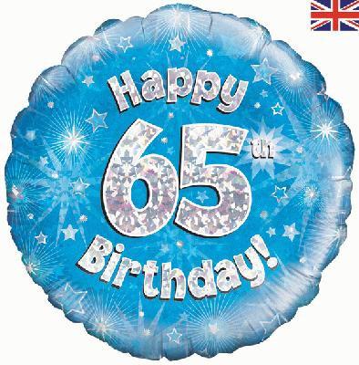 "18"" Blue 65th Birthday Balloon - Helium Filled"