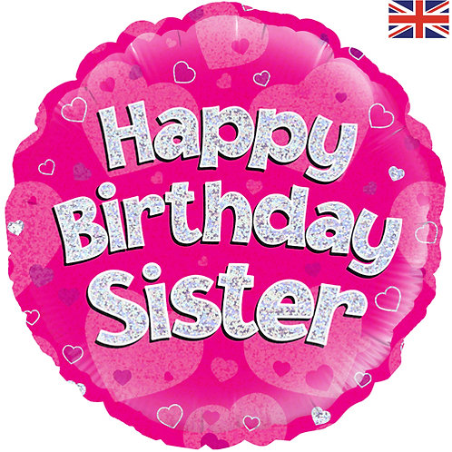 """18"""" Pink Happy Birthday Sister Balloon - Helium Filled"""