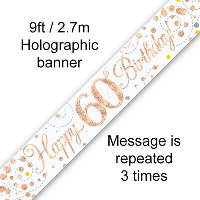 Rose Gold 60th Happy Birthday Party Banner