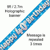 Blue 40th Happy Birthday Party Banner