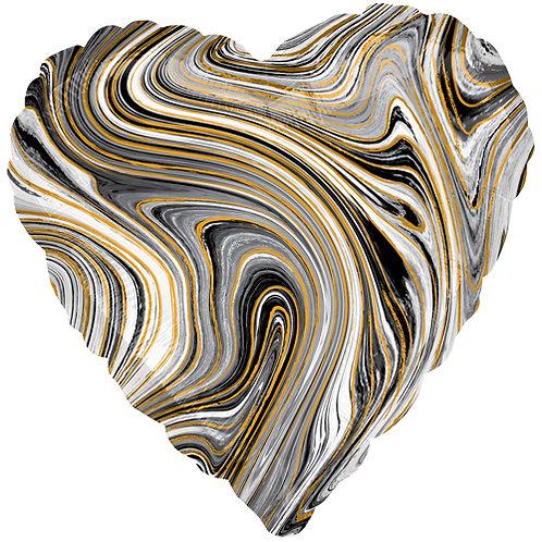 "18"" Marblez Black Heart -  Anagram Balloon - Helium Filled"