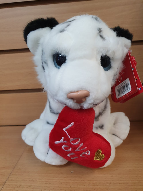 'Love You' White Tiger Plush Valentines Day Gift