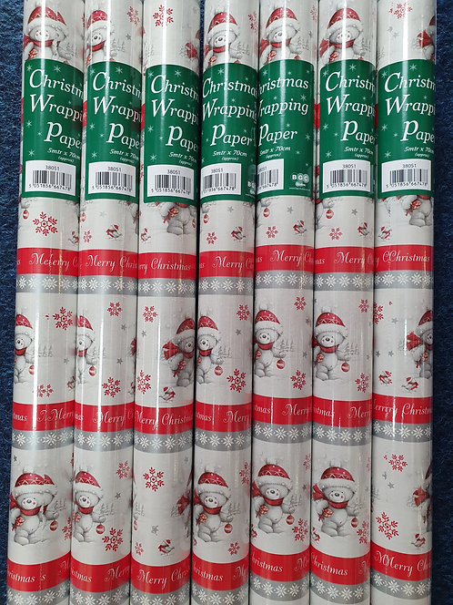 Christmas Wrapping Paper - Bears (white with Red Bands)