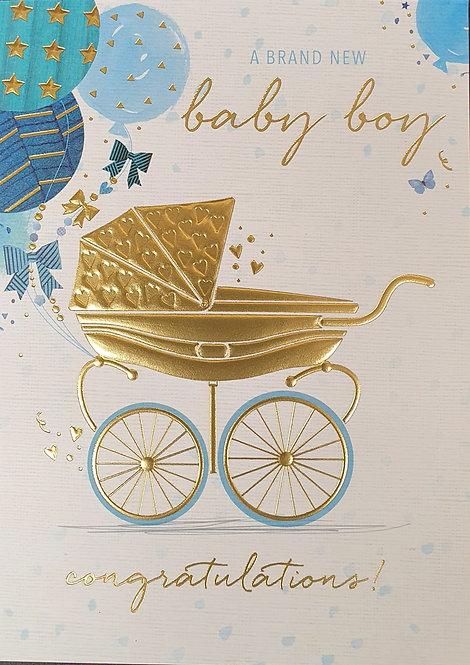 Birth Of Baby Boy Greeting Card With Pram