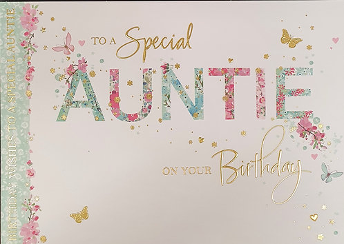 Auntie Birthday Greeting Card With Butterflies
