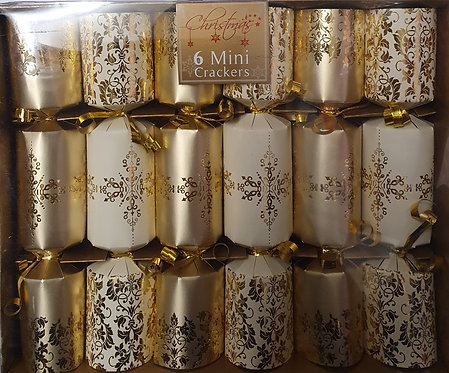 Gold Mini Christmas Crackers - Box of 6