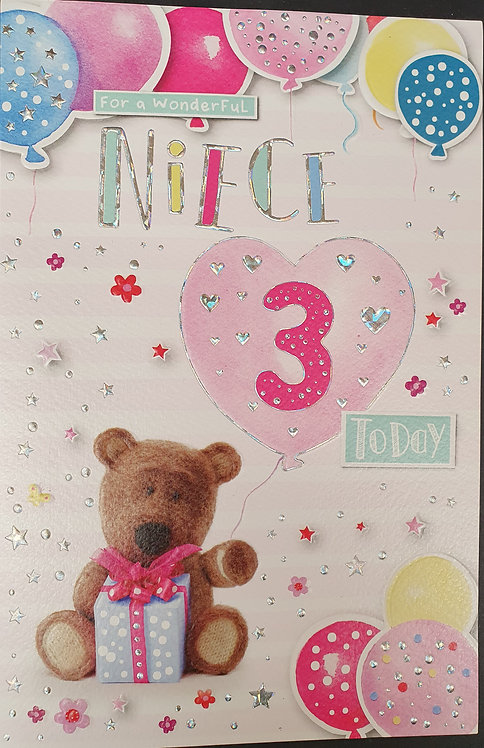 Niece 3rd Birthday Greeting Card Barley Bear Front