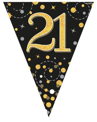 Black And Gold Happy 21st Birthday Bunting
