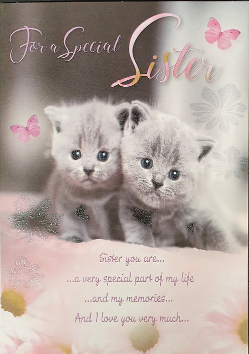 Sister Greeting Card With Kittens Front
