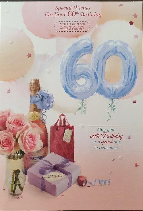 Female 60 Birthday Greeting Card - Personalise