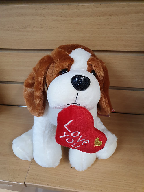 'Love You' White & Brown Dog Plush Valentines Day Gift