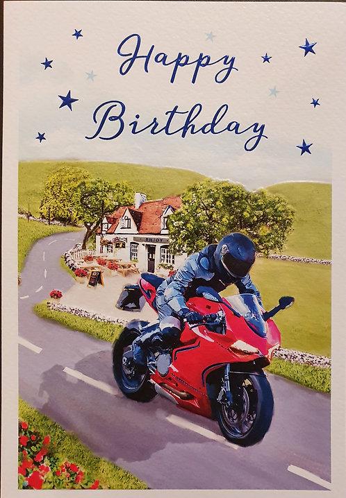 Male Birthday Greeting Card - Motorbike