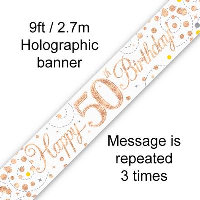Rose Gold 50th Happy Birthday Party Banner