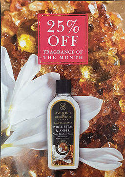 fragrance of the month white petal & amber