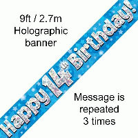 Blue 14th Happy Birthday Party Banner