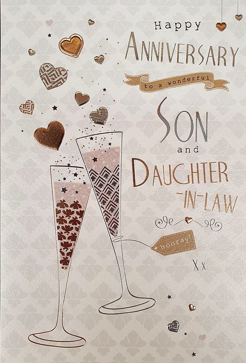 Son And Daughter-in-Law Anniversary Greeting Card Front
