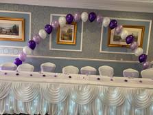 wedding top table skirting and swag with lights