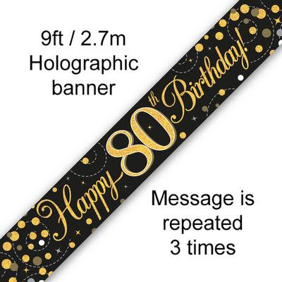 Black And Gold 80th Happy Birthday Party Banner