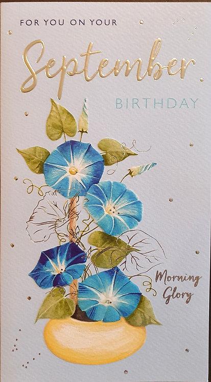 September Birthday Greeting Card - Morning Glory