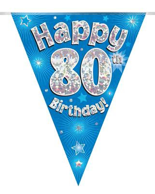 Party Bunting 80th Birthday Blue Holographic